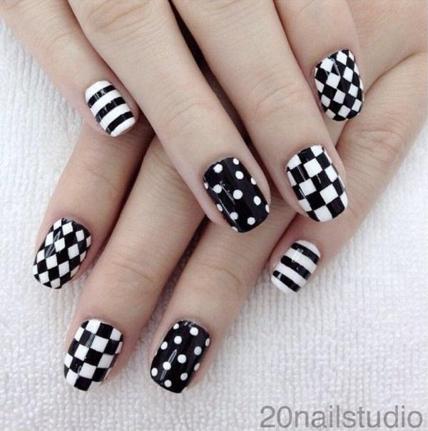 A Beautiful Nail Art Design With Black Polish And Gold Dust On Top Paint Pin It