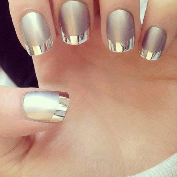 French Manicure Nail Art On Very Short Gel Nails
