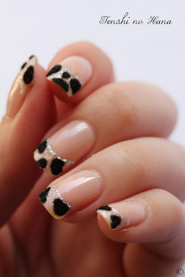 Grey Nails With Black French Tip Nail Art