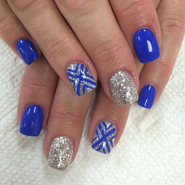 Make Way For This Royal Blue And Silver Glitter Ensemble The Nails Are Coated With