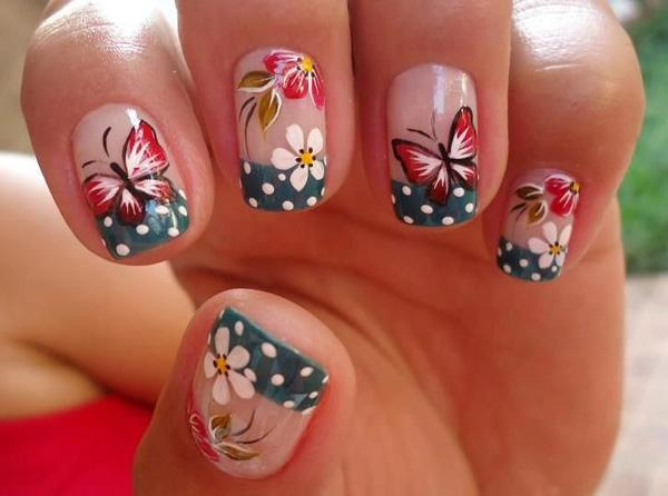 Another Amazing Looking Erfly Nail Art Design The Midnight Blue French Tips Are Added With