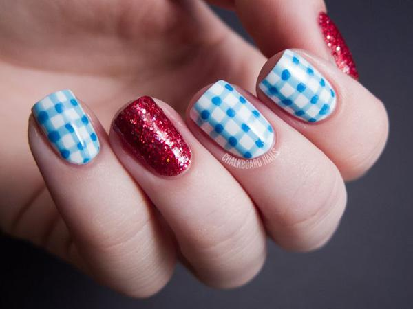 Baby Blue White And Red Gingham Nail Art Design