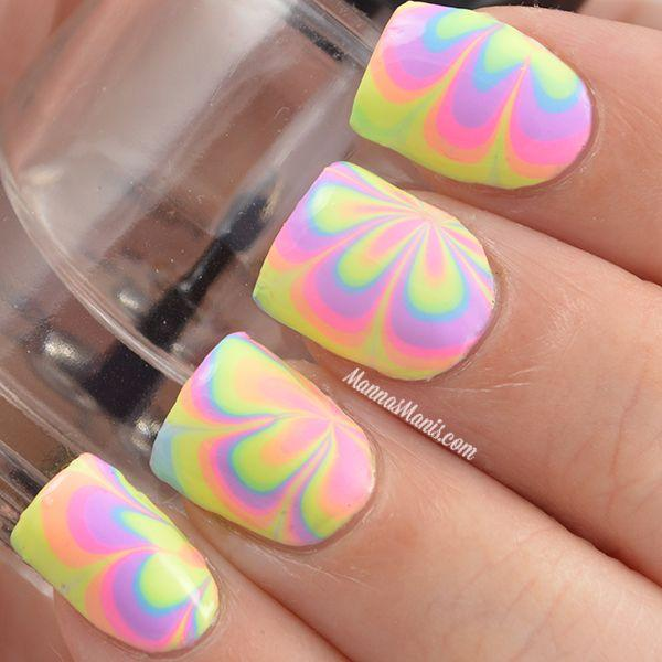 Pastel Colored Water Marble Nail Art Design In Shape Of Flower Pattern