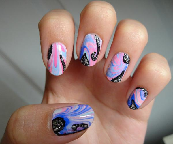Pink Flower Water Marble Nail Art