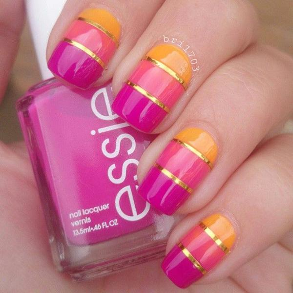 A Tricolor Metallic Nail Art Design Using Shades Of Fuchsia Carnation Pink And Yellow Orange