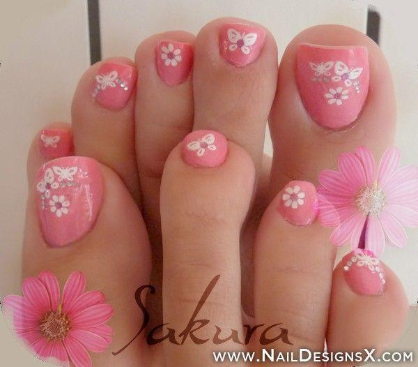Pink Toenail Art Design With Daisy Flowers And Cute Erflies