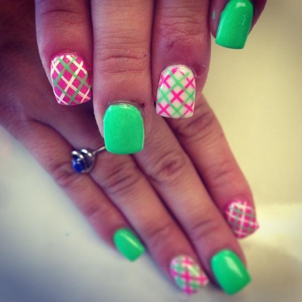 Diagonal Plaid Nail Art