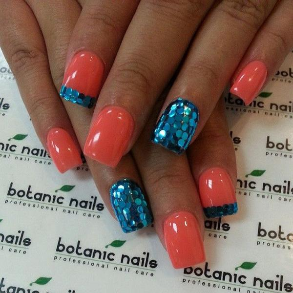 Wonderful Looking Aqua Blue Glitter Nail Art Design In French Tip And Matte Detail With Melon