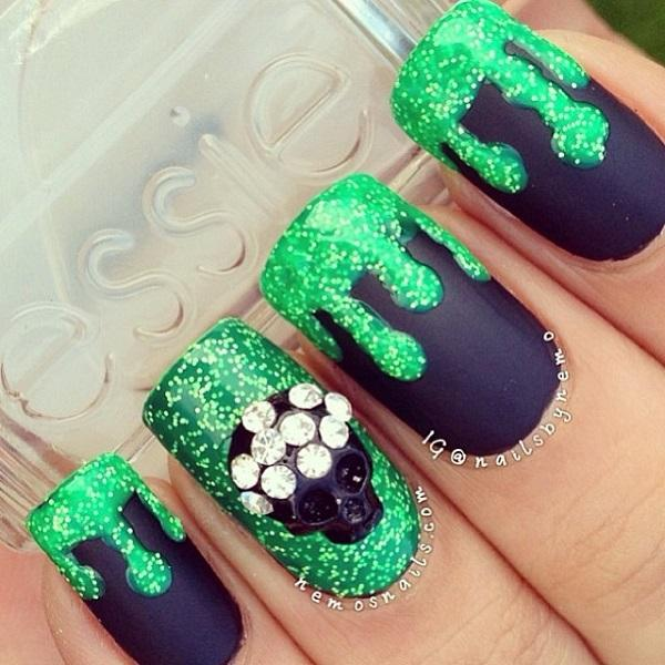 Deadly Poison Themed Glitter Nail Art Design In Green Polish And Midnight Blue Matte