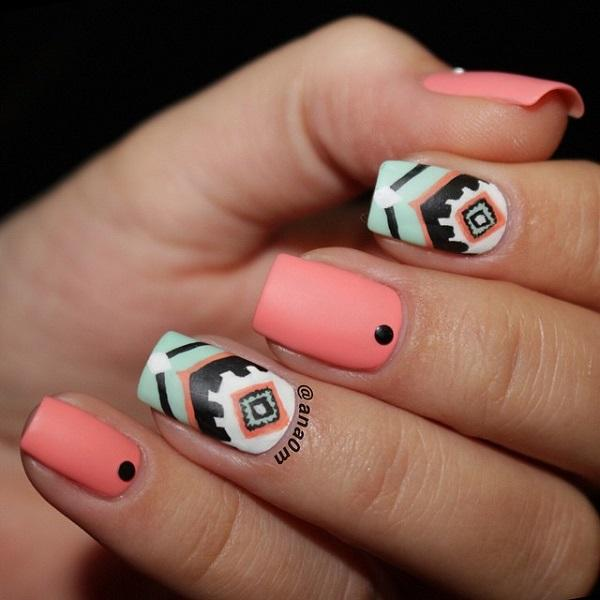 Cute Tribal Inspired Nail Art In Melon Green White And Black Polish