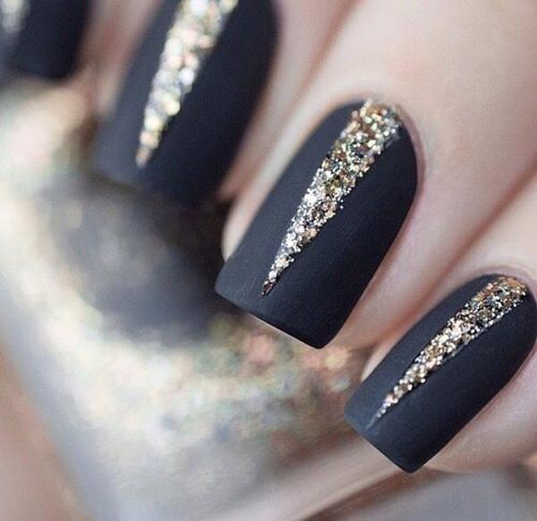 A Stand Out Glitter Nail Art Design In Thin Long V Shapes Contrast To