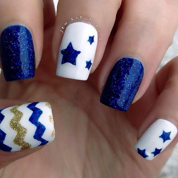 Cute And Abstract Designs On Blue Green Nail Polish This Art Design Uses