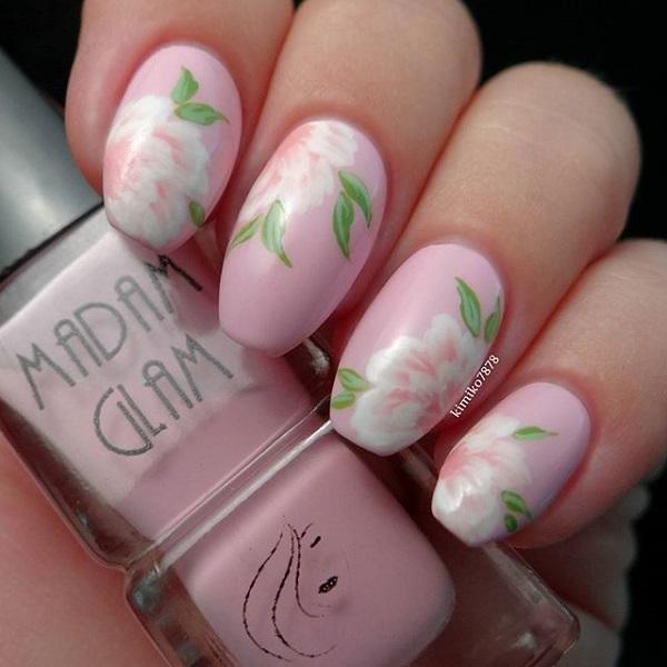 Pink Flower Inspired Nail Art Design It S A Rather Simple Yet Adorable Looking