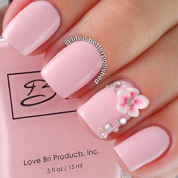 A Very Cly Looking And Elegant Baby Pink Nail Art Design