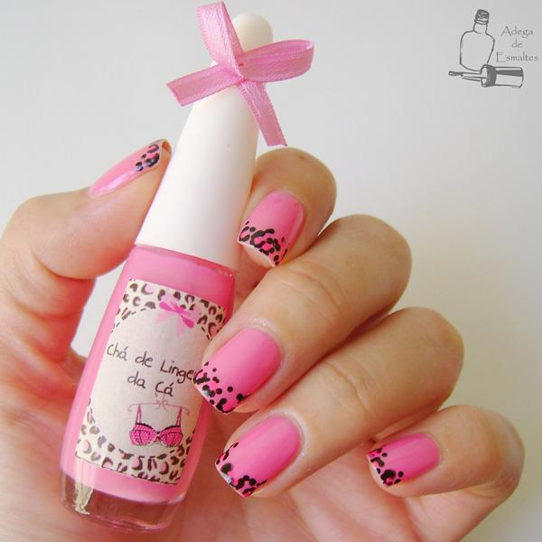 Leopard Print French Tips In Pink Shade A Very Cute Looking Nail Art Design That
