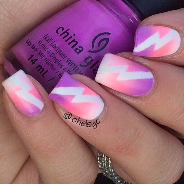 Pink And Purple Strip Manicure 37 Nail Art Designs