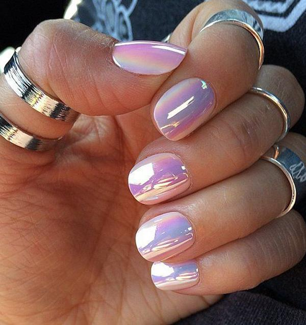 Cotton Candy Themed Watercolor Nail Art Design Use Hues Such As Light Pink