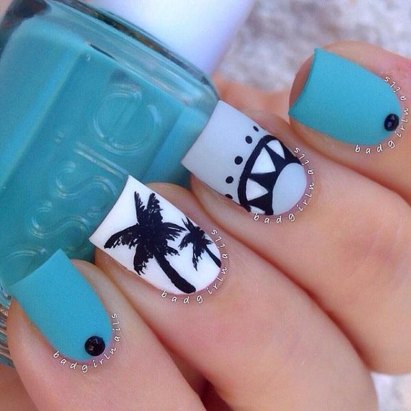 Cute Blue Themed Animal Prints Nail Art Using Midnight As The Base Color