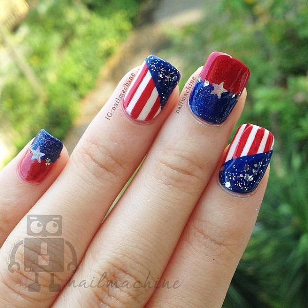 Very Beautiful Fourth Of July Themed Nail Art Design This Uses Dark Blue