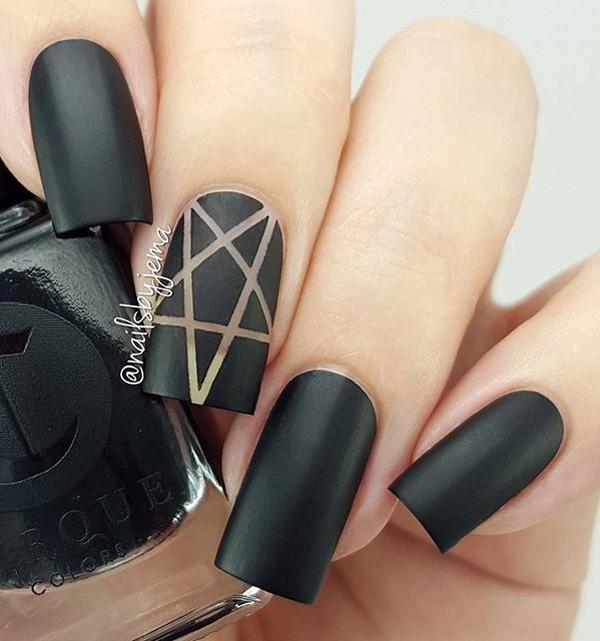 Matte Black Nails With A Golden Detail If You Love And Subtle Design