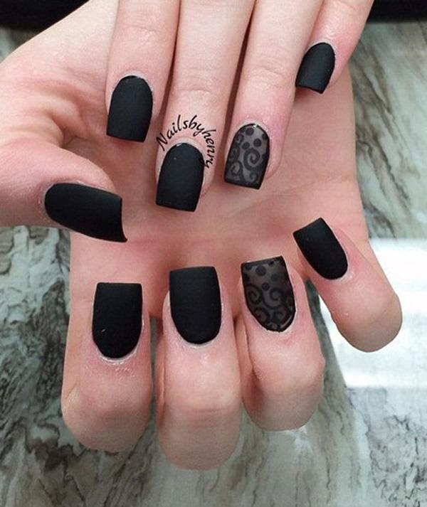 Matte Black And Gold Mirror Nails Bmodish