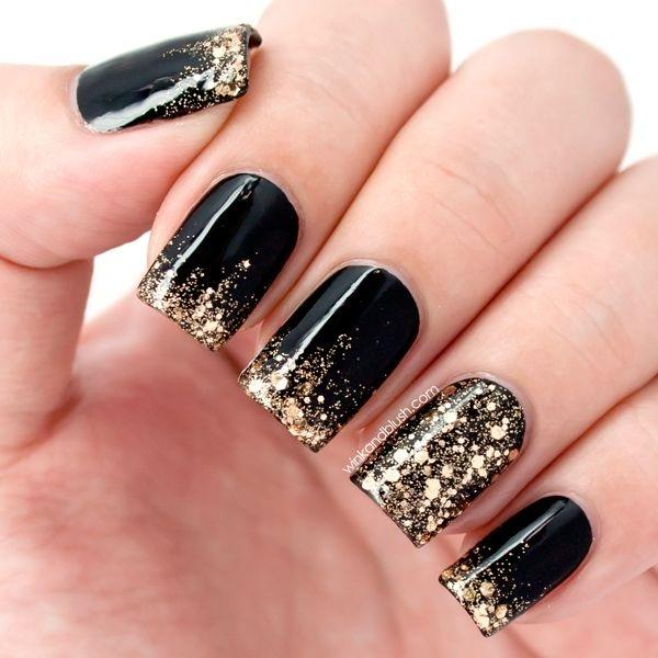 Black Nail Polish With Gold Glitters And Sequins Let That Golden French Tip Stand Out