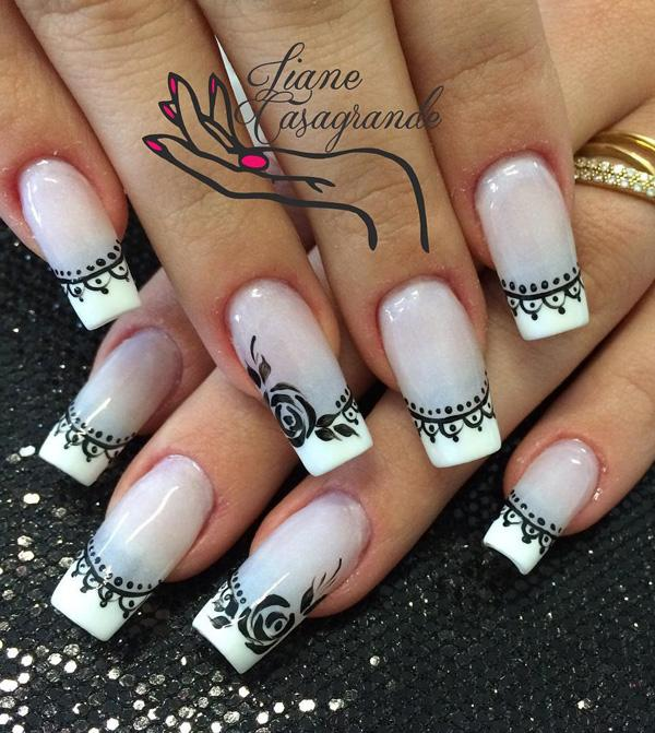 Black And White Rose French Tips Winter Is All About