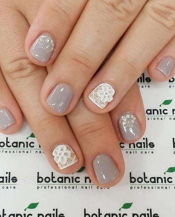 Gray And White Winter Nail Art Design Add Embellishments On Top Of The Nails To