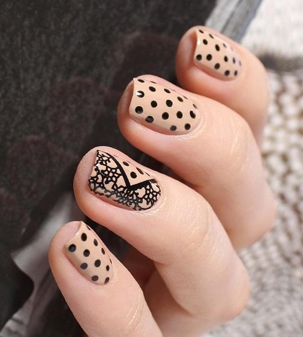 Polish In Polka Dot And Flower Nail Art Design Give Statement To Your Nails