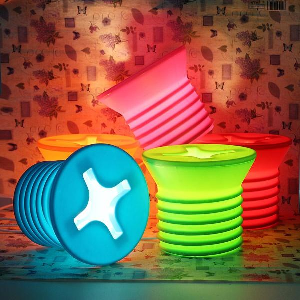 Colorful screw lamps. Cute and definitely adorable looking lamps that come in different neon colors.