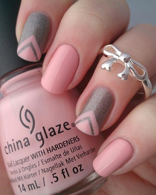 Pink And Gray Glitter Nails Art Design Paint Alternatively Nail Polish With