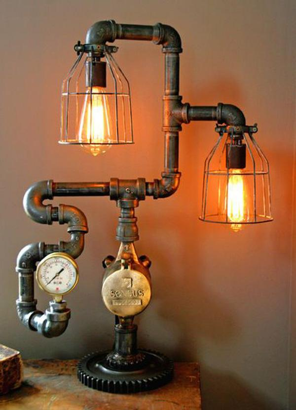 Pipe inspired lamp. Detailed and creative lamp version of underground water pipes.