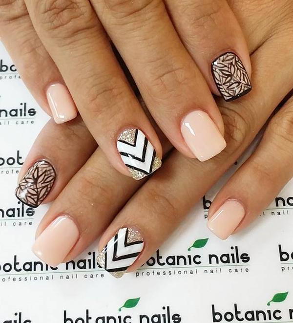 Nail Polish In Bination With Black And White Geometric Shapes Leaves