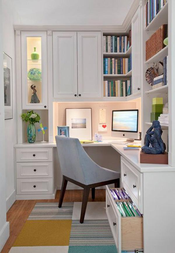 Having a hard time placing all of your books, stuff and work-related paraphernalia on your small home office space? A good shelf will help you solve the problem!