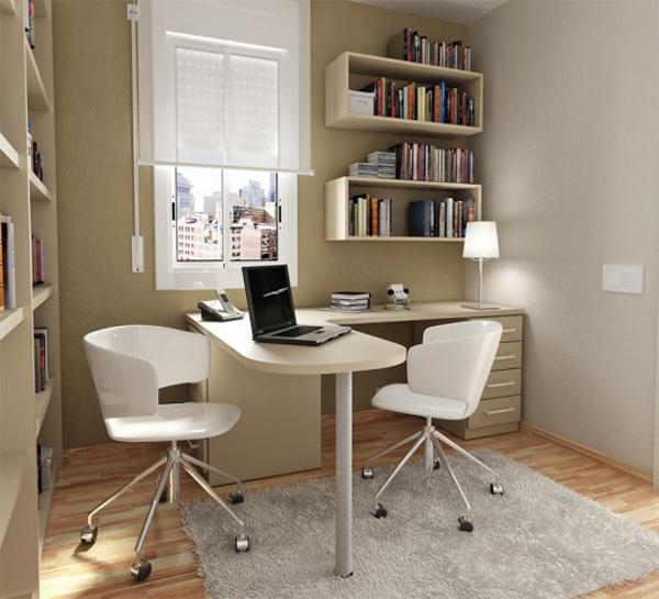 Even if your home-office isn't really that big, you could still make full use of it while still having enough space. Use bookshelves and organize them properly so you can maximize the use of your tiny space.