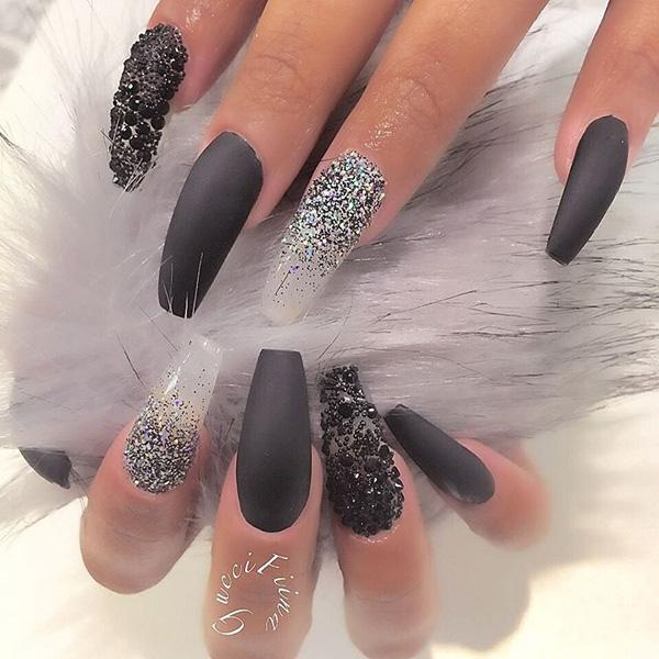 Add Black And White Glitters Be For Your Coffin Nail Art