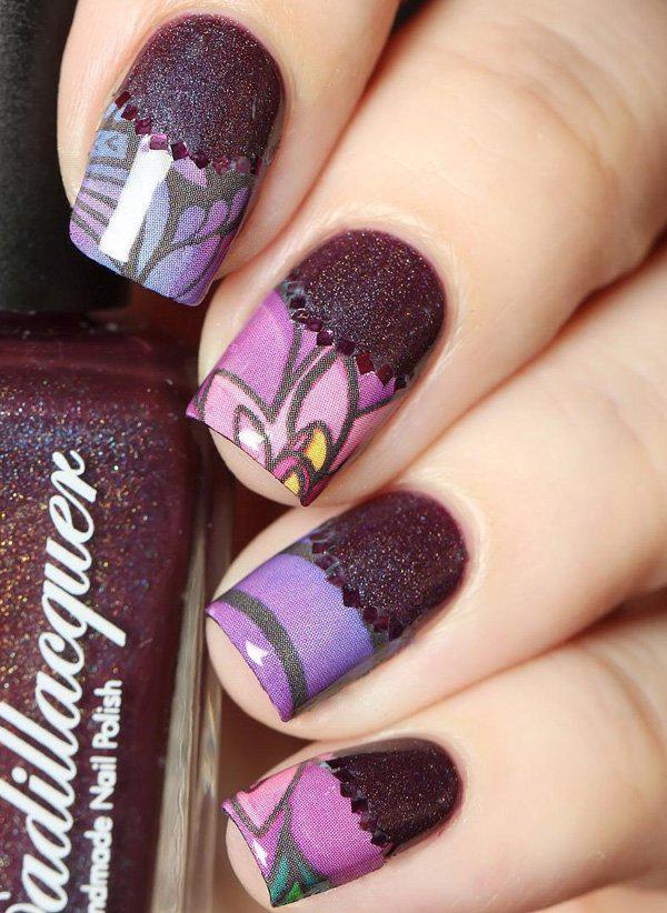 There are electronic nail art designs where we can get complicated designs easily. UIn this design, you can get that and then cover a Half moon shape with purple glitters and purple rhinestones.