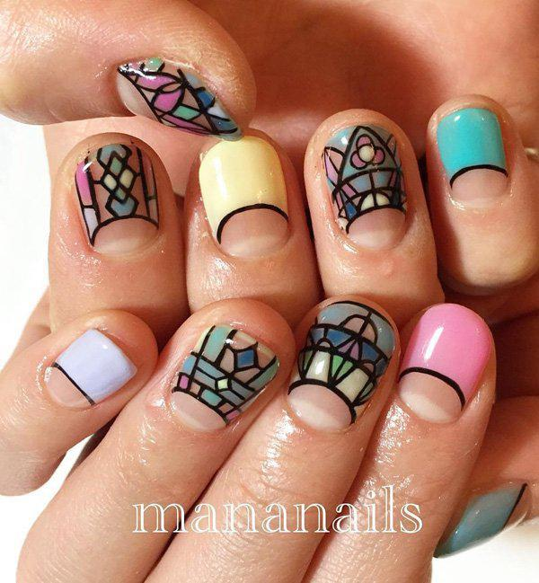 These beautiful nail art designs will make you think of church windows. There's something divine and peaceful about it.