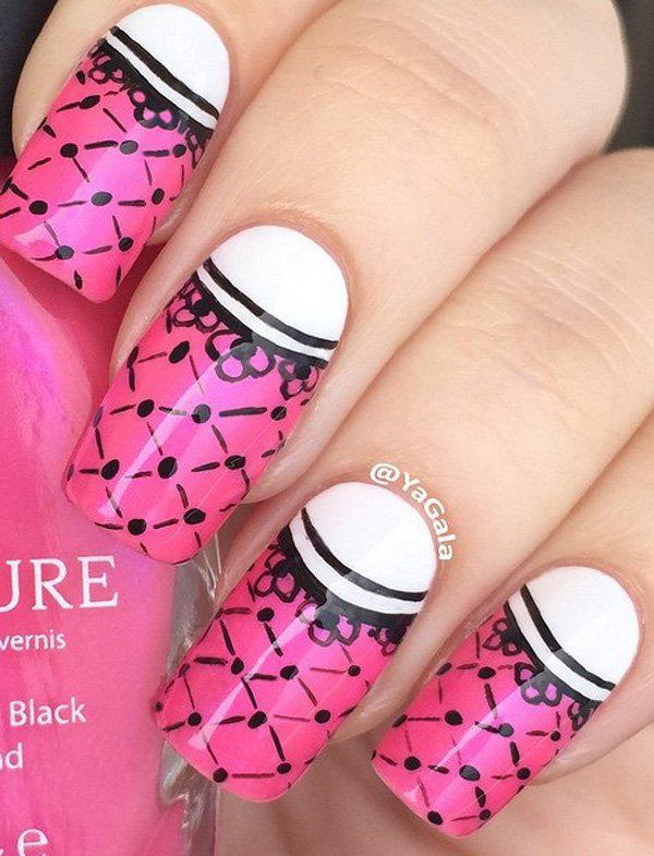 Another sassy and unique nail art design with black details on a pink nail polish. The half moon design is white which is the base.