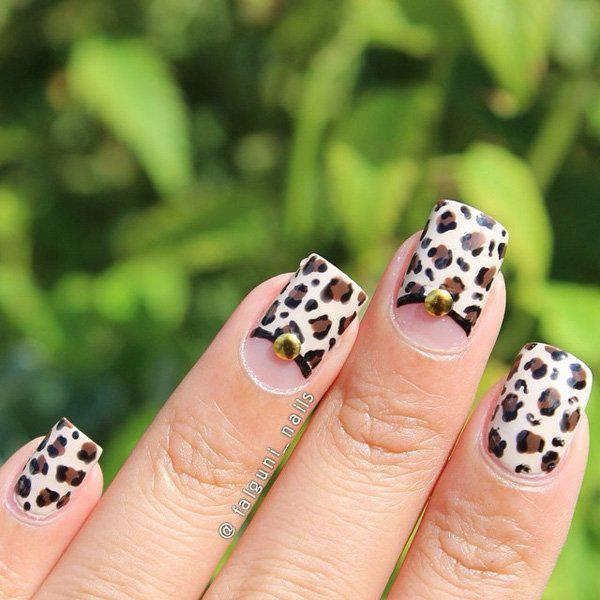 Leopard designs are still in. Just leave a space for the half moon design and take a gold bead to give accent to the design.
