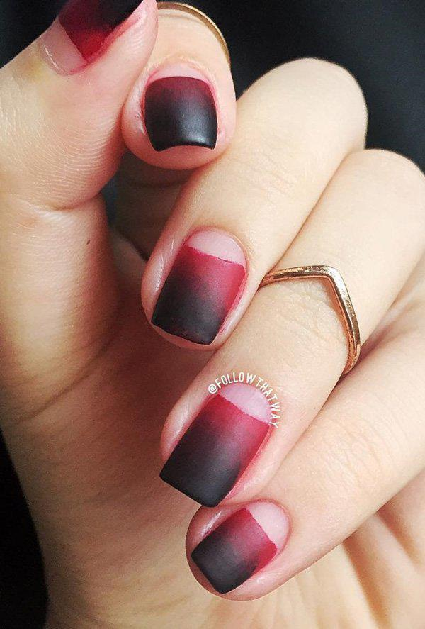 This matte black or red ombre looks a bit subtle with the naked Half moon design.