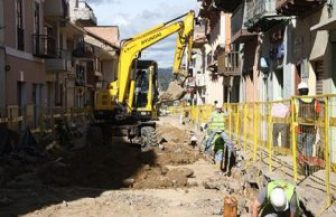 Tram construction in the historic district