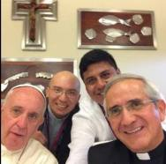 Even other priests get in on the selfie action.