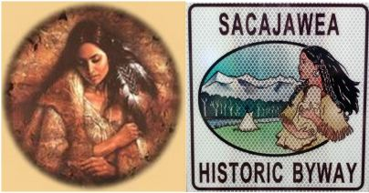 Two modern versions of the Sacajawea image, fashion model and road sign.