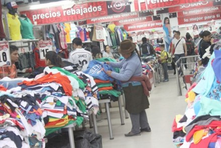 Clothing made in Peru and Colombia is a bargain for Ecuadorian buyers.