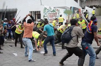 A protest turned violent Wednesday in Macas.