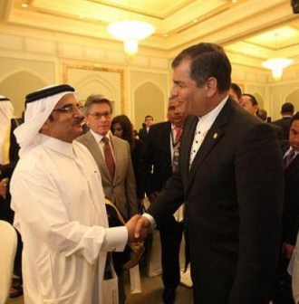 Correa on an official visit to Qatar in 2012.