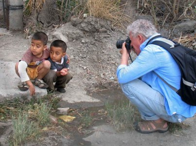 Ives photographing brothers in Vilcabamba.