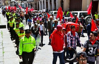 A protest march in Cuenca in August.