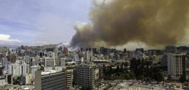 Smoke rises from wildfires close to Quito.